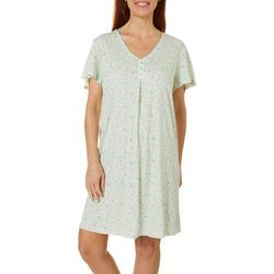 Womens Ditsy Floral Henley Nightgown