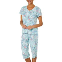 Karen Neuburger Womens Tropical Flamingo Capri Pajama  Set