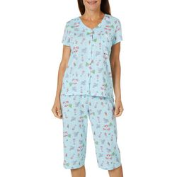 Karen Neuburger Womens Beach Drinks Print Capri Pajama  Set