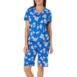 Karen Neuburger Womens Floral Polka Dot Bermuda Pajama Set