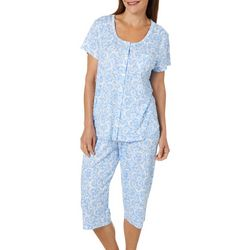 Karen Neuburger Womens Scroll Print Bermuda Pajama  Set