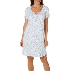 Karen Neuburger Womens Ditsy Floral Notched Collar Nightgown