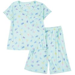 Women Turtle Pajama Shorts Set