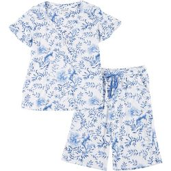 Encore Womens China Floral Pajama Shorts Set