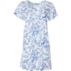 Karen Neuburger Womens China Floral Short Sleeve Nightgown