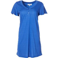 Womens Dotted Short Sleeved Nightgown