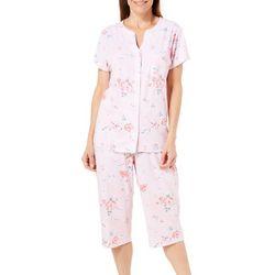 Karen Neuburger Womens Floral Pocket Cardigan Pajama Set