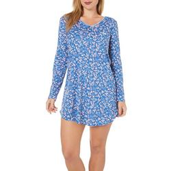 Womens Floral Henley Long Sleeve Nightgown