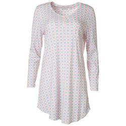 Encore Womens Printed Crochet Trimmed Nightgown