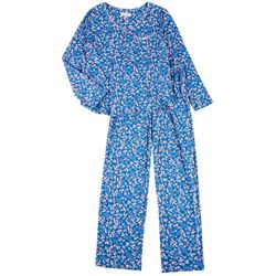 Womens Denim Ditsy Floral Print Pajama Set
