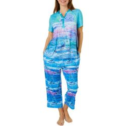 Leoma Lovegrove Womens 2-Pc.Super Moon Henley Pajama Set