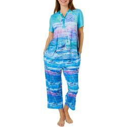 Womens 2-Pc.Super Moon Henley Pajama Set