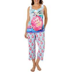 Womens 2-Pc. Pink Paradise Pajama Set