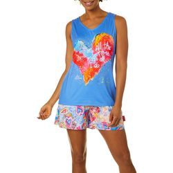Leoma Lovegrove Womens 2-pc. Heart Boxer Pajama Set