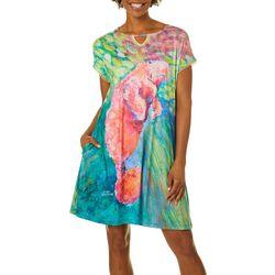 Leoma Lovegrove Womens Manatee Notch Crochet Trim Nightgown