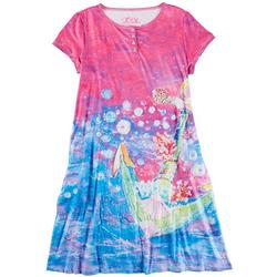 Womens SOS Henley Short Sleeve Nightgown