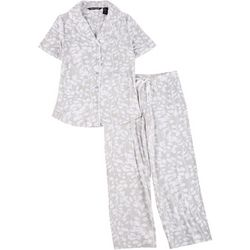 Noire Womens Vine Print Short Sleeve Pajama Set