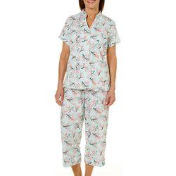 White Orchid Womens Cherry Blossom Print Capri Pajama Set