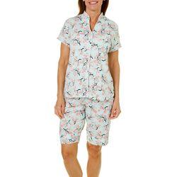White Orchid Womens Cherry Blossom Print Pajama Shorts Set