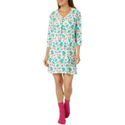 White Orchid Womens Beach Print Nightgown & Socks Set