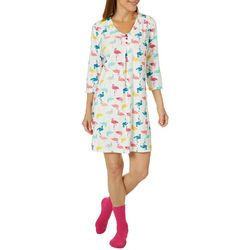 White Orchid Womens Flamingo Print Nightgown & Socks Set