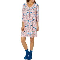 White Orchid Womens Hedgehog Print Nightgown & Socks Set