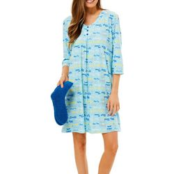 White Orchid Womens Nap Time Print Nightgown & Socks Set