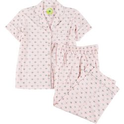 White Orchid Womens Rose Print Button Down Pajama Capri Set