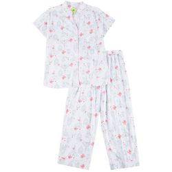 White Orchid Womens Printed Button Down Pajama Pants Set