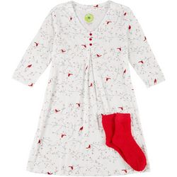 White Orchid Womens Cardinal Print Nightgown & Socks Set