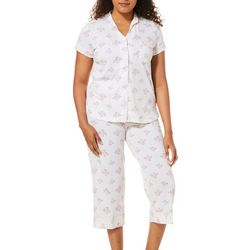 White Orchid Womens Striped Floral Capri Pajama Set