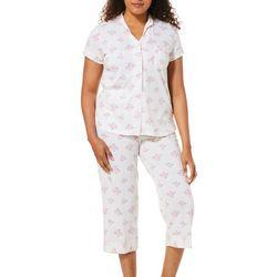 White Orchid Womens Striped Floral Capri Pajama Set