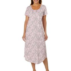 White Orchid Womens Floral Print Short Sleeve Nightgown