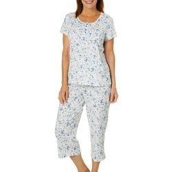 White Orchid Womens Floral Print Capris Pajama Set