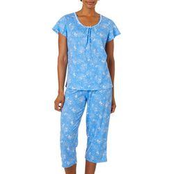 White Orchid Womens Soft Floral Capris Pajama Set