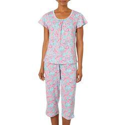White Orchid Womens Paisley Print Capris Pajama Set