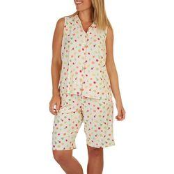 White Orchid Womens Fruit Print Pajama Bermuda Set
