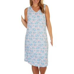 White Orchid Womens Painted Floral Sleeveless Sleep Shirt