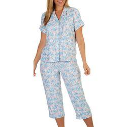 White Orchid Womens Floral Button Down Pajama Capri Set