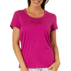 Coral Bay Womens Solid Henley Pajama Top