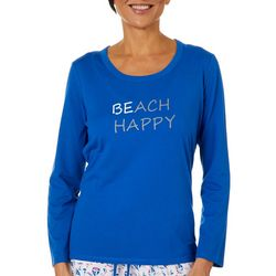 Coral Bay Womens Solid BEach Happy Long Sleeve Pajama Top