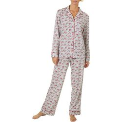 White Orchid Womens Cardinal Button Down Pajama Pants Set