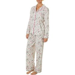 White Orchid Womens Heart Floral Button Down Pajama Set