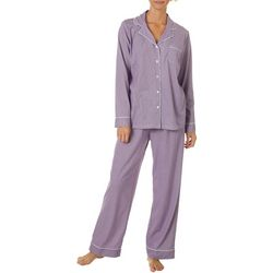 White Orchid Womens Striped Button Down Pajama Pants Set