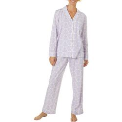 White Orchid Womens Toile Button Down Pajama Pants Set