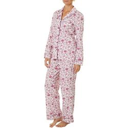 White Orchid Womens Rose Print Button Down Pajama Pants Set