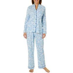 White Orchid Womens Paisley Button Down Pajama Pants Set