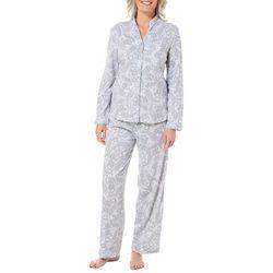 White Orchid Womens Paisley Mandarin Collar Pajama Pants Set