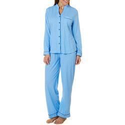 White Orchid Womens Diamond Button Down Pajama Pants Set