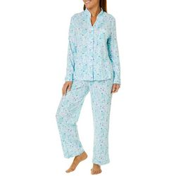 White Orchid Womens Floral Mandarin Collar Pajama Pants Set